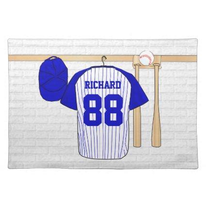 Personalized Baseball Jersey blue Place Mats
