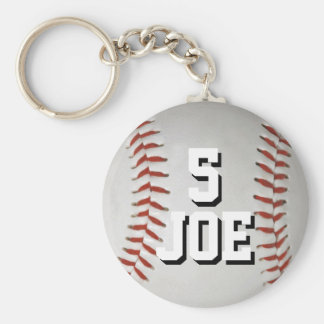 Personalized Baseball Keychain Name and Number
