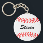 """Personalized baseball keychain with custom name<br><div class=""""desc"""">Personalized baseball keychain with custom name. Baseball gift idea for sports team,  players and fans. Make your own ball keychain with your name.</div>"""