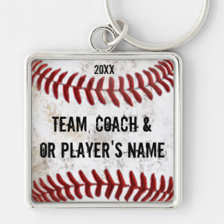 Personalized Baseball Keychains Coaches and Player Silver-Colored Square Keychain