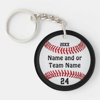 Personalized Baseball Keychains, Your Team Colors Double-Sided Round Acrylic Keychain
