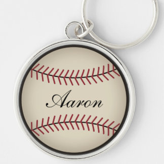 Personalized Baseball Keyring Silver-Colored Round Keychain