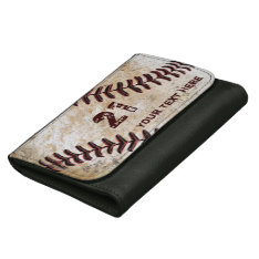 Personalized Baseball Leather Wallets Name, Number at Zazzle