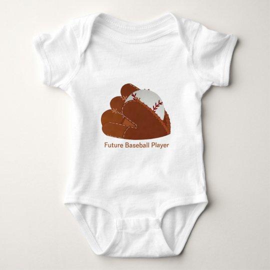 Personalized Baseball Mitt & Ball Baby Bodysuit