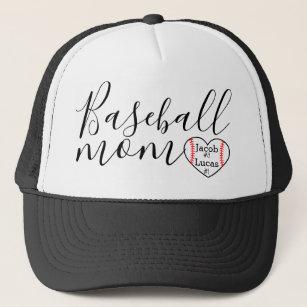7a73e421 personalized baseball mom trucker hat heart 2 kids
