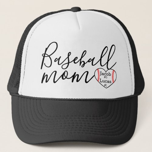 personalized baseball mom trucker hat heart 2 kids