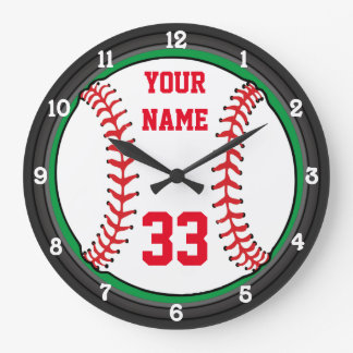 Personalized Baseball Name and Number Large Clock