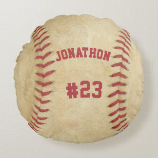 Personalized Baseball Name and Number Round Pillow