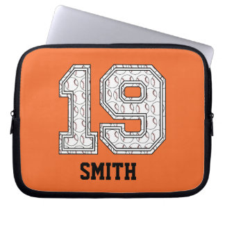 Personalized Baseball Number 19 Computer Sleeve