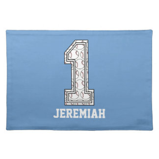 Personalized Baseball Number 1 Cloth Placemat
