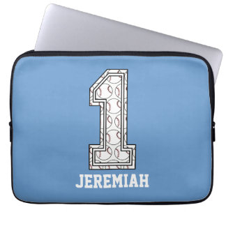 Personalized Baseball Number 1 Laptop Computer Sleeves