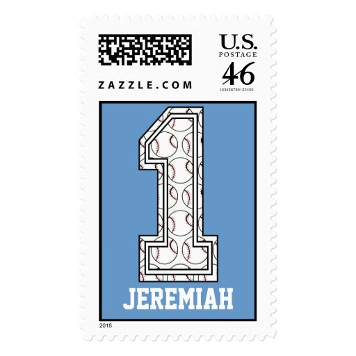 Personalized Baseball Number 1 Postage Stamps