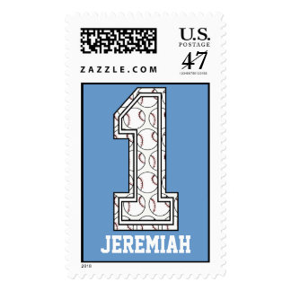 Personalized Baseball Number 1 Postage Stamp