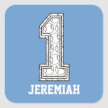 Personalized Baseball Number 1 Square Sticker