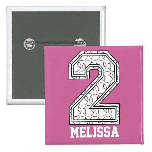 Personalized Baseball Number 2 Button