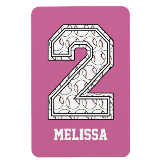 Personalized Baseball Number 2 Magnet