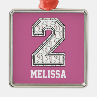 Personalized Baseball Number 2 Metal Ornament
