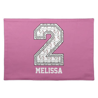 Personalized Baseball Number 2 Place Mat