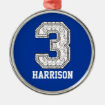 Personalized Baseball Number 3 Christmas Ornament