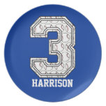 Personalized Baseball Number 3 Dinner Plate