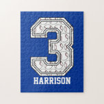 """Personalized Baseball Number 3 Jigsaw Puzzle<br><div class=""""desc"""">A cute design for the baseball, softball or tee ball player, featuring the number three with baseballs inside the number. Customize the text to create a fun and unique gift for the baseball player who wears the number 3 or the future baseball player who is celebrating their third birthday. The...</div>"""