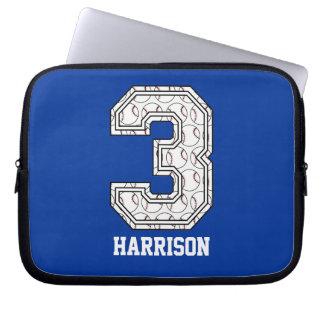 Personalized Baseball Number 3 Laptop Sleeve