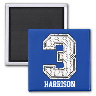 Personalized Baseball Number 3 Fridge Magnet