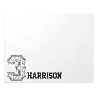Personalized Baseball Number 3 Notepad