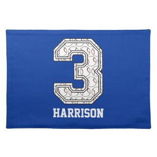 Personalized Baseball Number 3 Placemat