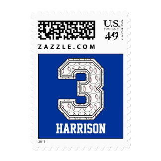 Personalized Baseball Number 3 Stamp