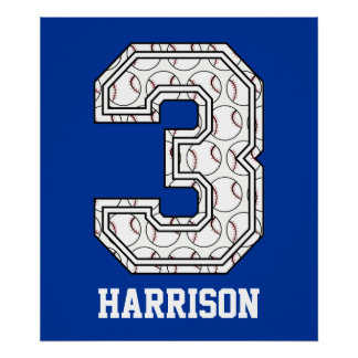 Personalized Baseball Number 3 Posters