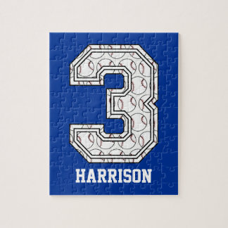 Personalized Baseball Number 3 Puzzle