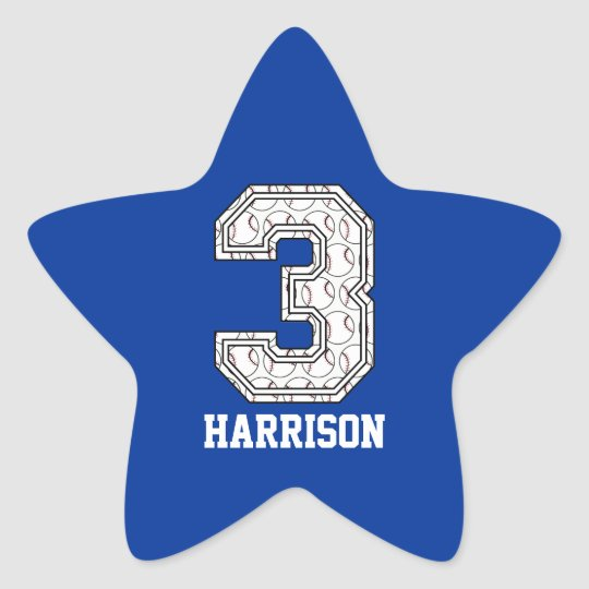Personalized Baseball Number 3 Star Sticker