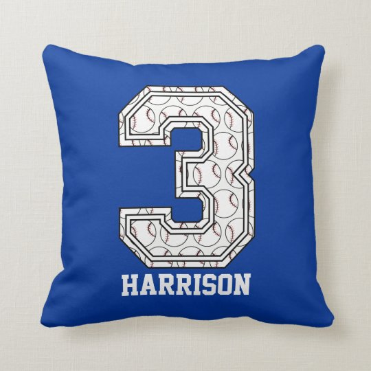 Personalized Baseball Number 3 Throw Pillow