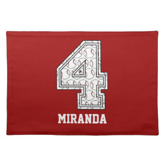 Personalized Baseball Number 4 Cloth Placemat