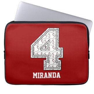 Personalized Baseball Number 4 Laptop Sleeve