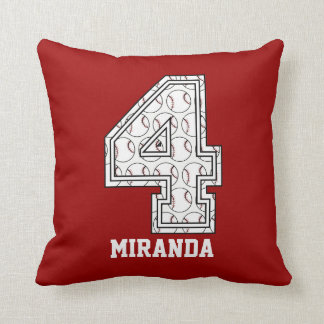 Personalized Baseball Number 4 Throw Pillow