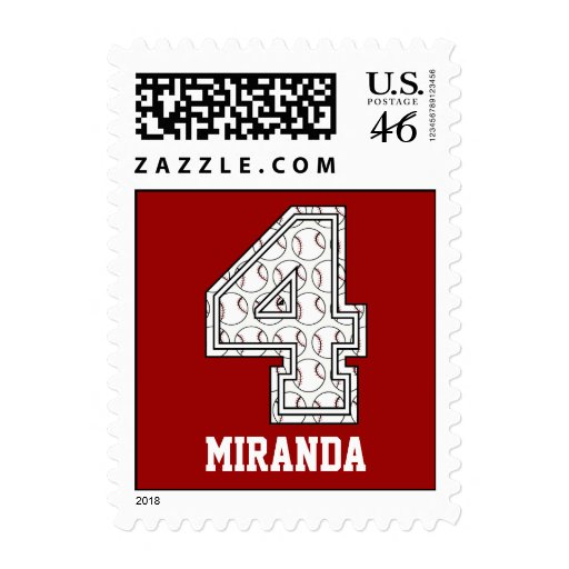Personalized Baseball Number 4 Postage Stamps