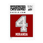 Personalized Baseball Number 4 Postage