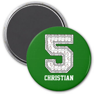 Personalized Baseball Number 5 3 Inch Round Magnet