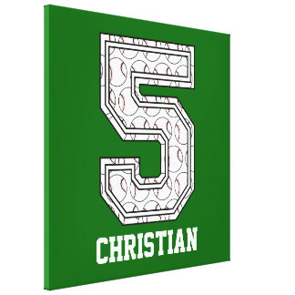 Personalized Baseball Number 5 Canvas Print