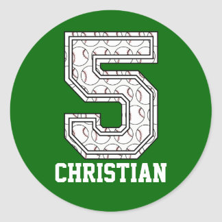 Personalized Baseball Number 5 Classic Round Sticker