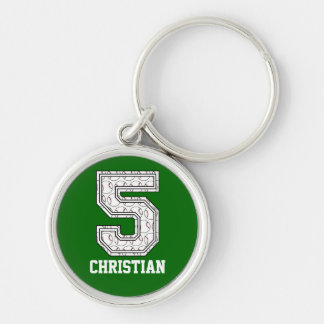 Personalized Baseball Number 5 Keychain