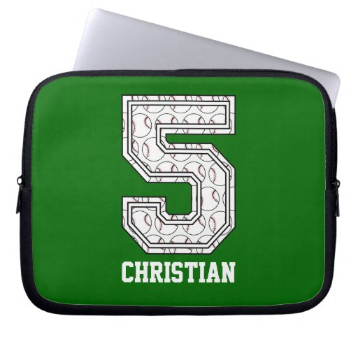 Personalized Baseball Number 5 Laptop Computer Sleeves