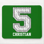 Personalized Baseball Number 5 Mouse Pad