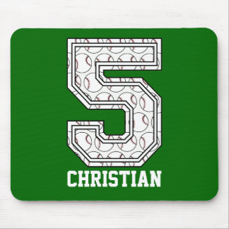 Personalized Baseball Number 5 Mouse Pads