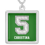Personalized Baseball Number 5 Square Pendant Necklace