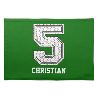 Personalized Baseball Number 5 Placemat
