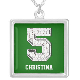 Personalized Baseball Number 5 Silver Plated Necklace