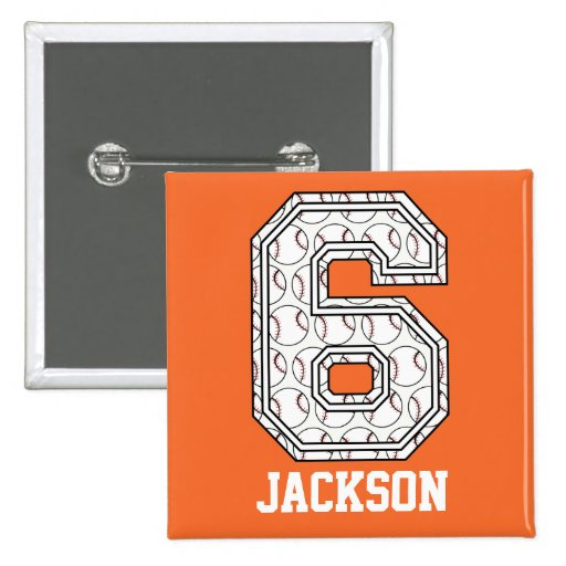 Personalized Baseball Number 6 2 Inch Square Button